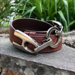 🌿 Oscar De La Renta   Brown Buckle Leather Belt